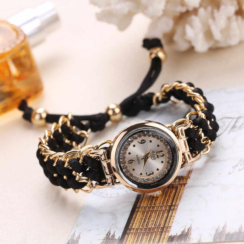 נשים צמיד שעון סריגה חבל שרשרת Winding אנלוגי קוורץ שעון מזדמן שעוני יד נירוסטה חיוג גבירותיי שעונים 2019