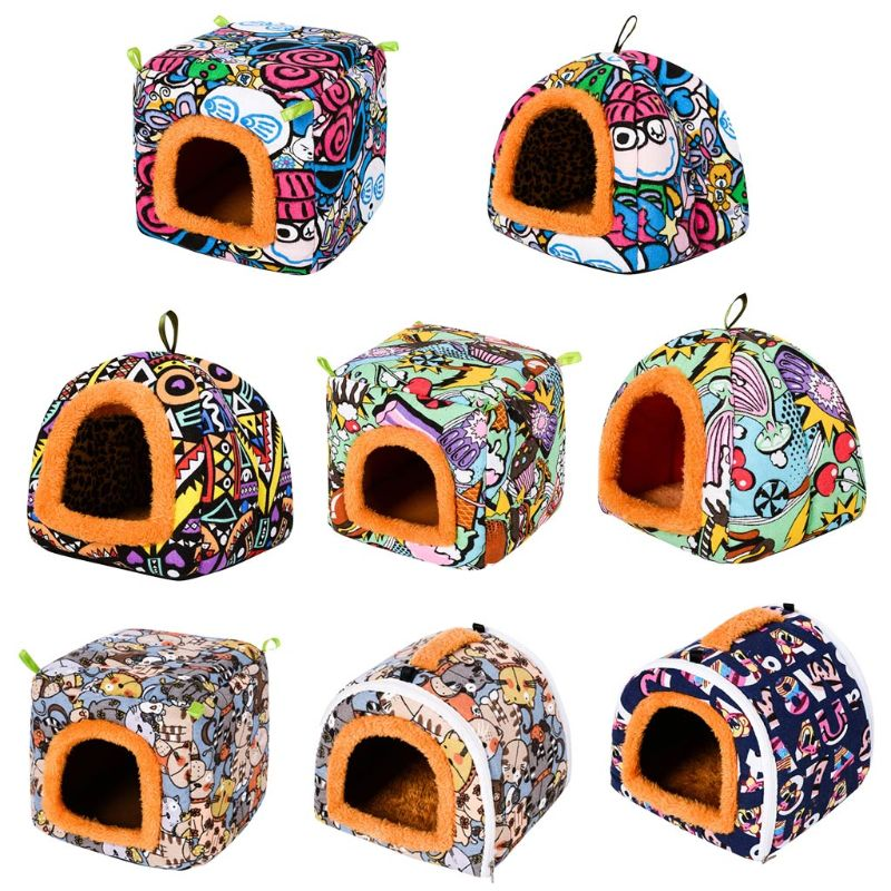 Small Animal Guinea Pig Hamster Hedgehog Bed House Warm Cage Bed Habitat Cave Washable Cartoon Nest Cage Bed Home Pets Supplies