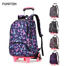 kids Trolley Bags For School Children backpack with Wheels Rolling girl Travel luggage Backpack