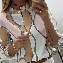 Fanbety Women Adjustable Sleeve Chains Pineapple Print Button blouse
