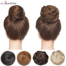 S-noilite 30g Hair Bun Curly Or Straight Chignon 100% Human Hair Donut Hairpiece Brown