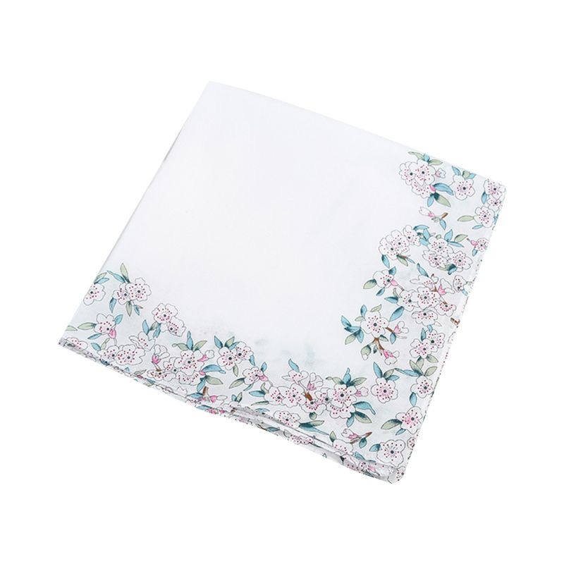 Womens Cotton Square Handkerchiefs Cherry Blossom Floral Candy Color Hanky Towel AXYD