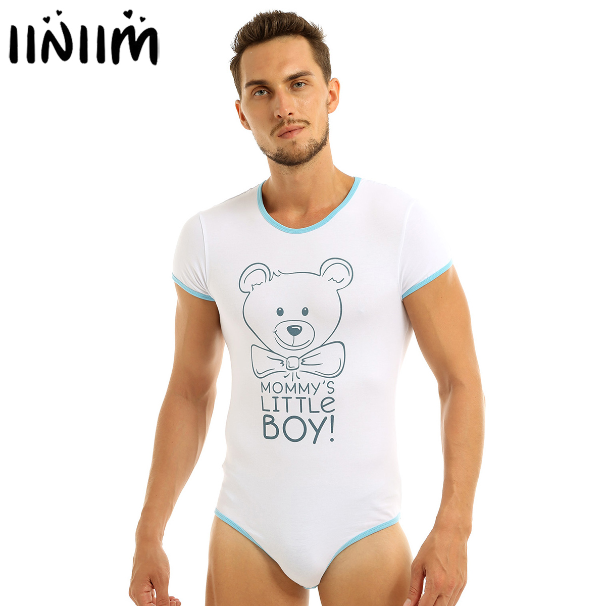 Iiniim Mens Adult Baby & Diaper Lover Lingerie Bodysuit Bodystocking Crotch Front Printed Sissy Gay Male Bodysuit Romper Pajamas