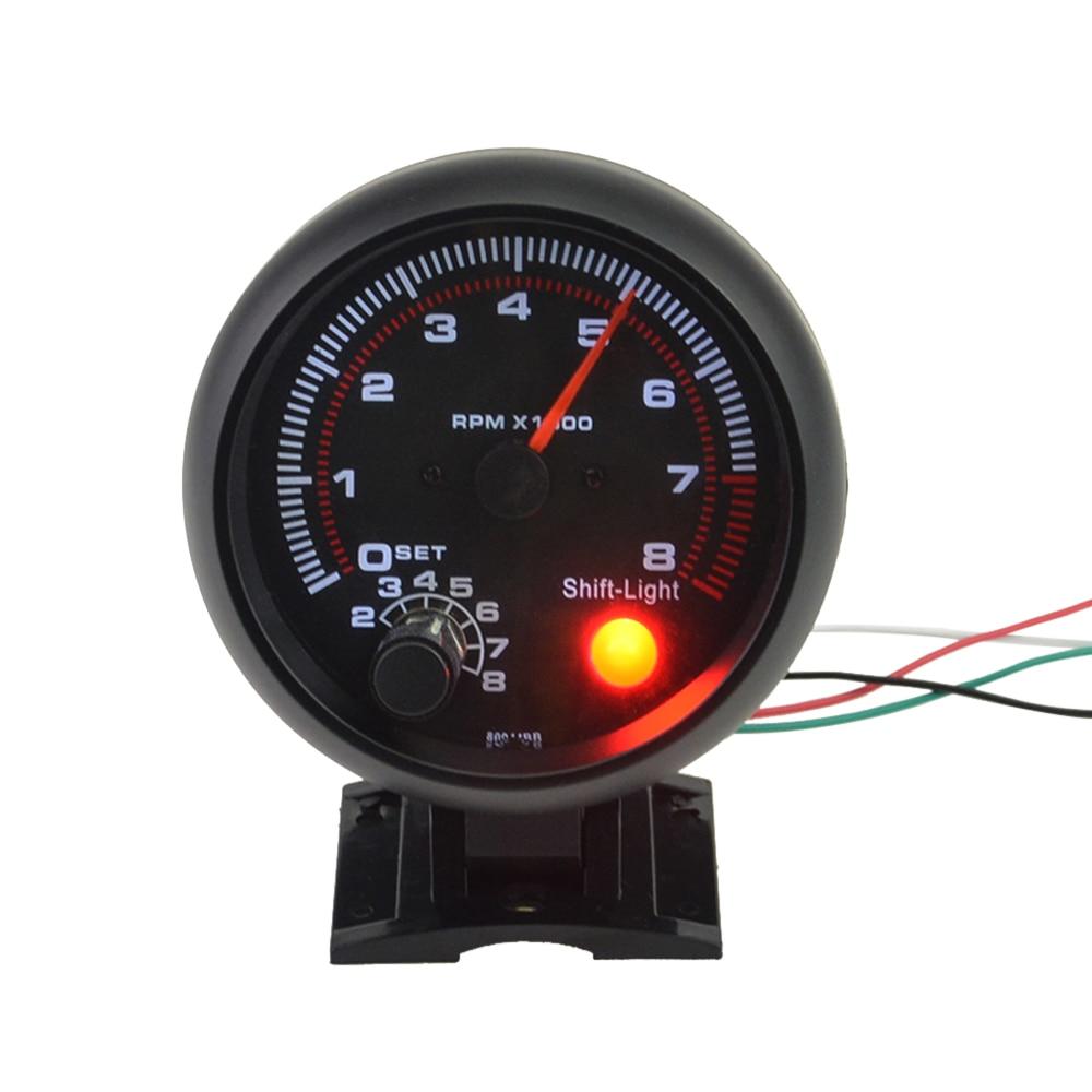 """3,75 """"coche Universal tacómetro negro medidor motor Digital Tach blanco luz Inter Shift 0-8000 RPM para motores de 4, 6, 8 cilindros"""