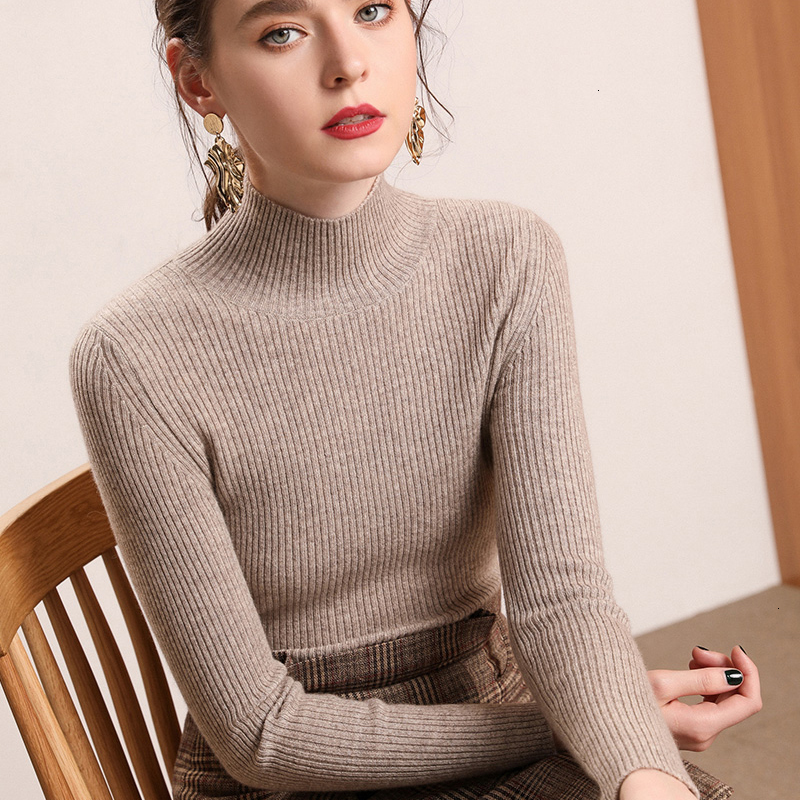 Women Pullovers Sweater Sexy Knitted Elasticity Jumper Slim Turtleneck Pullovers Warm Female Girl Lady Slim-fit Tight Sweater