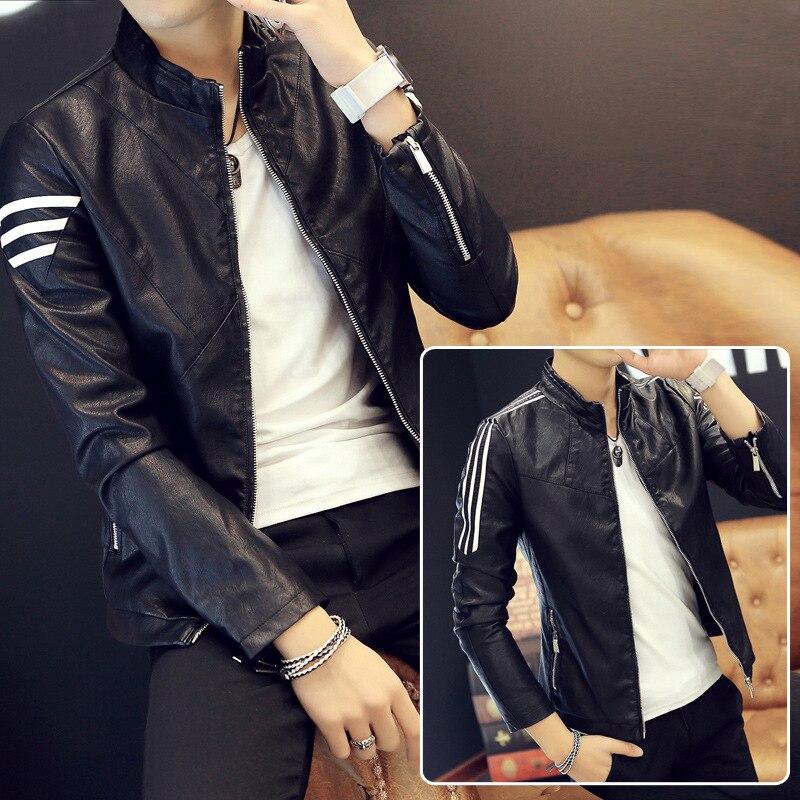 MEN'S Jacket Spring Korean-style Slim Fit PU Leather MEN'S Leather Jacket Young MEN'S Leather Jacket