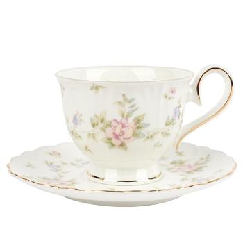 Taza de café o té Europea pequeña de cerámica con borde dorado,...