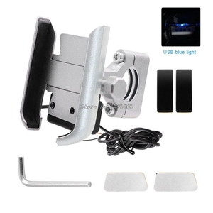 Image 2 - Universal Motorcycle Bike Handlebar Mobile Phone Holder Stand Mount Bracket with USB Charger for 4 6.5inch Cellphone Whosale