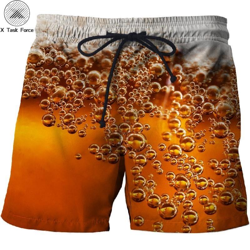 2019 Beer Bubble Printed Beach Shorts Men Board Shorts 3d Homme Men Short Plage Brand Quick Dry Swimwear Drop Ship