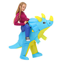 Child Triceratops Inflatable Dinosaur Costume Boys Girls Anime Cosplay Costume Suit Carnival Halloween Party Gift For Kids Adult