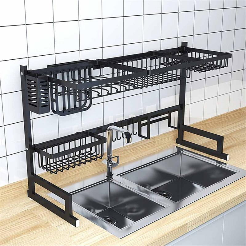65/85cm Küche Waschbecken Edelstahl Schüssel Schüssel Rack Organizer Regal Lagerung Inhaber Utensilien Lagerung Liefert In Schwarz - 4