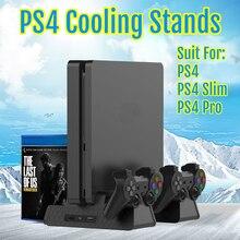 PS4 Slim/PRO stojak pionowy z 3 wentylatorami chłodzącymi podwójny kontroler stacja ładująca podstawa wentylacyjna SONY Playstation 4