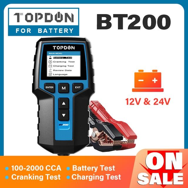 TOPDON BT200 12V Tester per batteria per auto analizzatore di Tester per batteria diagnostica automobilistica digitale strumento per Scanner di ricarica a gomito per veicoli