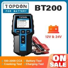 Topdon bt200 12v testador de bateria carro digital automotivo diagnóstico bateria tester analisador veículo cranking ferramenta de carregamento scanner