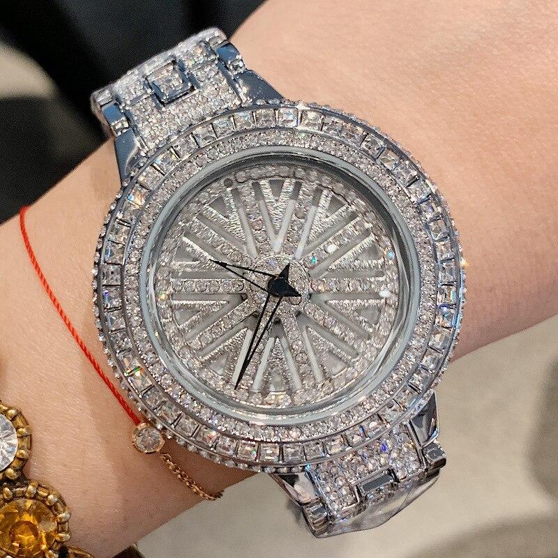 Женские наручные часы с большим циферблатом, вращающиеся стразы, большие наручные часы с кристаллами, 2019