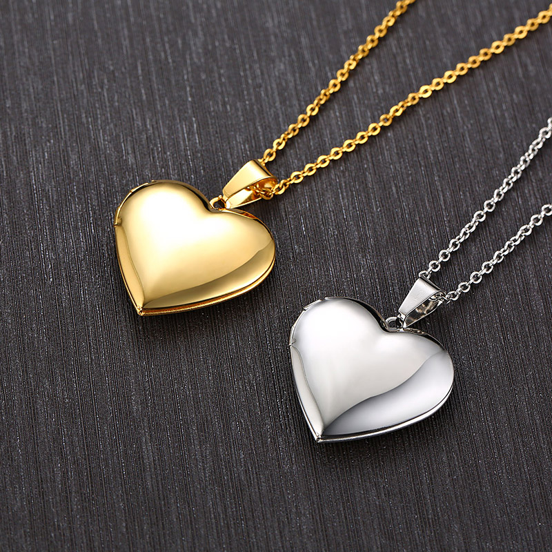 Vnox Romantic Heart Photo Frame Necklaces for Women Gifts Can Be Opened Stainless Steel Promise Love Keepsake Jewelry