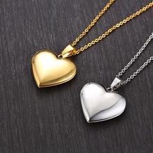 Vnox – Colliers avec porte photo en cœur pour femme, bijou en acier inoxydable, le cadre être ouvert, idées cadeaux romantique, promesse d'amour