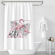 Flamingo Shower Curtain 3d Scene Version Digital Printed Shower Curtains Waterproof Moisture-proof Bathroom Tropical Plant