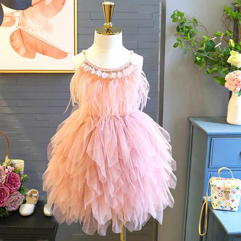 Vestidos de princesa para niños, vestidos con lentejuelas y plumas para niñas, vestidos de fiesta de cumpleaños para niños, vestidos con tutú para bebés
