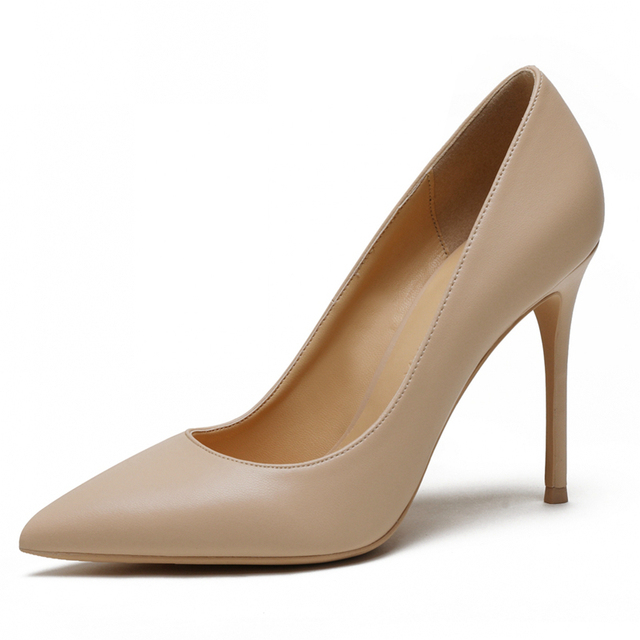 New Spring Party Wedding Woman High Heel Genuine Leather Pointed Toe Mature Office Lady Elegant Shoes Women Pumps Big Size A003