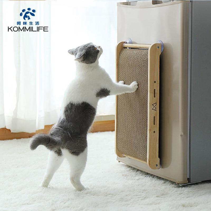 Corrugated Paper Cat Scratcher Durable Cat Scratch Board Solid Wood Vertical Claw Sharpener Anti Scratch Sofa Furniture Cat Toys