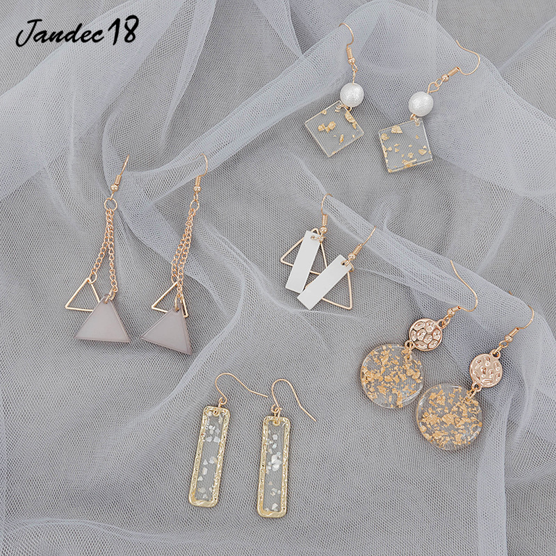 Statement Temperament Square Circle Tassel Fringe Flower Geometric Gold Metal Earrings Dangle Drop For Women Jewelry Accessories