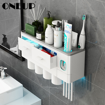 ONEUP New Toothbrush Holder Automatic Toothpaste Dispenser With Cup Wall Mount Toiletries Storage Rack Bathroom Accessories Set 1