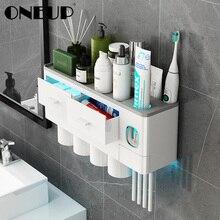 ONEUP dispensador automático de pasta de dientes, soporte para cepillos de dientes con taza de montaje en pared, estante de almacenamiento de artículos de tocador, Set de accesorios de baño