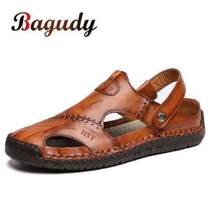 Image 1 - Sandales dété en cuir pour hommes, nouvelles chaussures de plage, confortables, dextérieur, taille 48, espadrilles décontractées