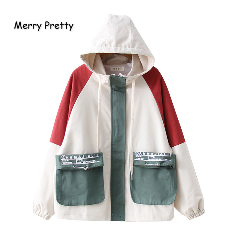 Merry Pretty Women Contrast Color Pockets Basic Jacket 2019 Winter Long Sleeve Hooded Jacket Casual Zippers Loose Outerwear Coat