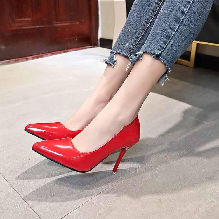 Mới cao cấp Thời Trang nữ bơm mỏng gót cổ điển màu trắng đỏ cổ điển màu be gợi cảm Hứa cưới Giày Đỏ rượu vang nữ giày