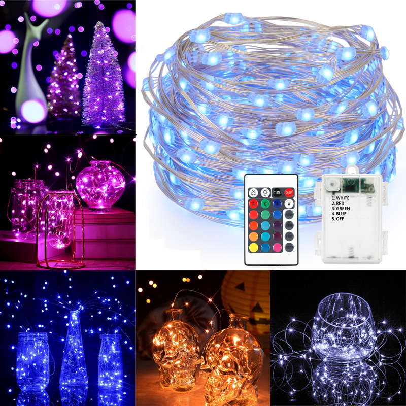 5M/10M 50LEDs/100LEDs String Lights With Remote Control Waterproof String 4 Copper Wire Decor Rope Lights 16 Color Party Decor
