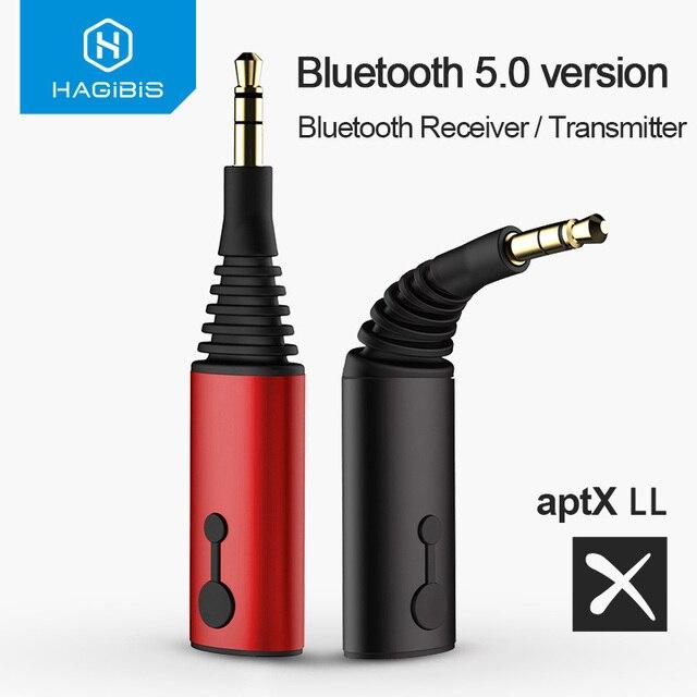 Hagibis 블루투스 수신기 송신기 3.5mm aptX LL 2in1 블루투스 5.0 음악 어댑터 헤드폰 스피커 무선 오디오 TV