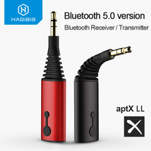 Hagibis Bluetooth Receiver Transmitter 3.5mm aptX LL 2in1 Bluetooth 5.0 Music Adapter For Headphone Speaker Wireless Audio TV
