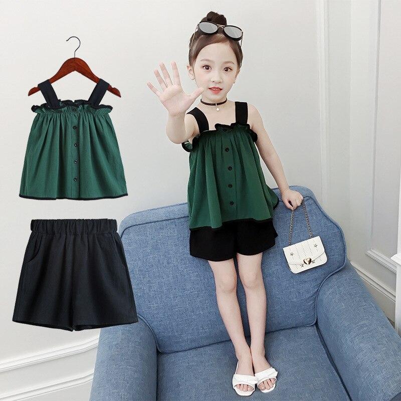 Crianças conjunto de roupas de verão 2019 novo estilo verão fora do ombro médio e grande meninas moda cor sólida ocidental sty - 3