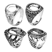 10*13mm 10*14mm Retro Electroplating Antique  Silver Openings Inlaid Beeswax Stone DIY Ring Blank