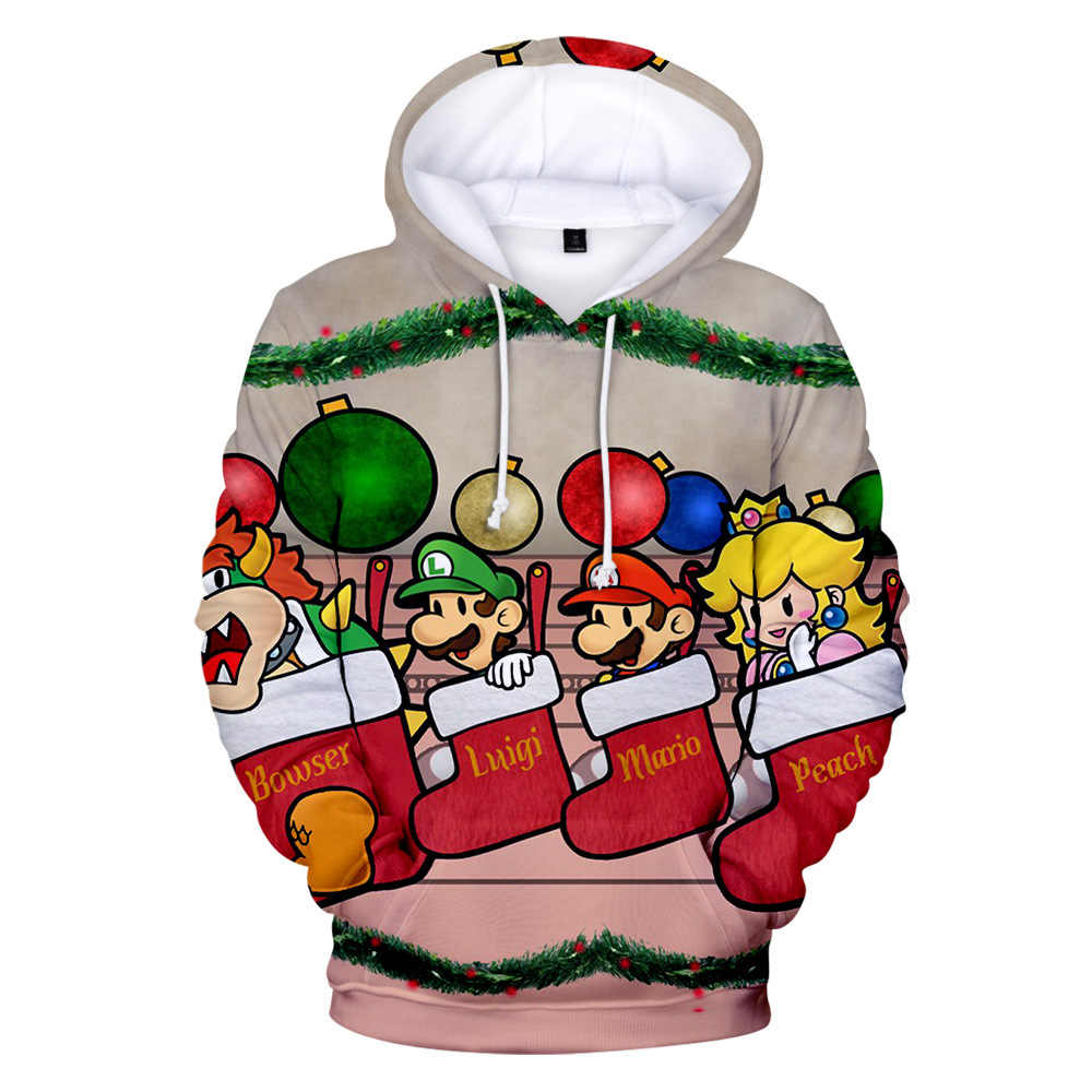 Women Christmas Sweater 3D Ugly Novelty Pullover Snowman Elk  Animal Printed Santa Claus Xmas Hooded Sweater Unisex Warm Sweater