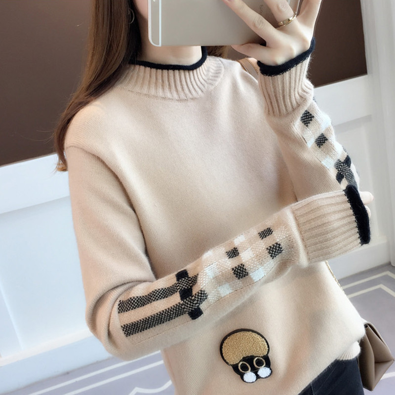 Korean Warm Women Sweater Autumn And Winter O-neck Knit Sweater Female Long Sleeve Loose Pullovers Thick Embroidery Sweater