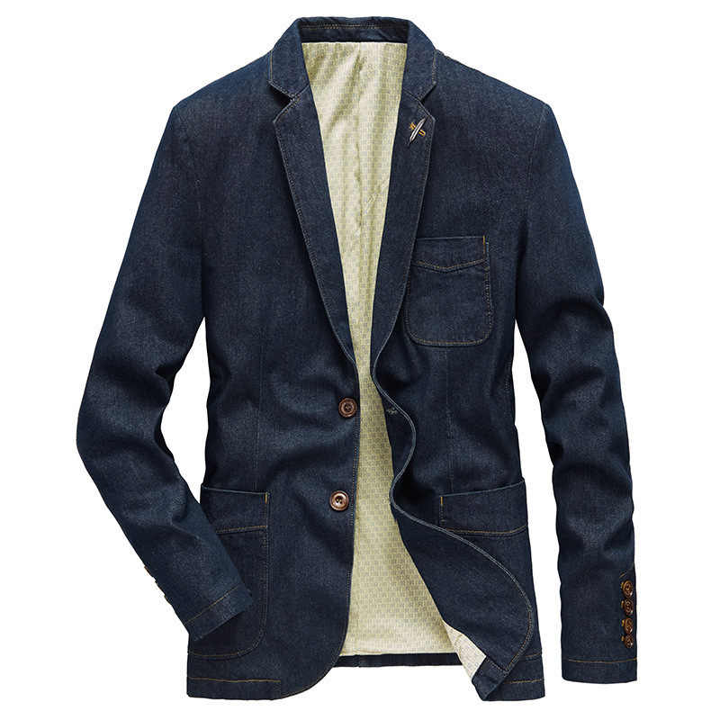 Military Casual Denim Blazers Men Suits Jacket Military Style Blue Black Pockets Men Blazer 2020 Winter