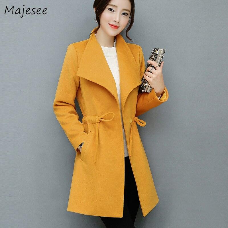 Yellow Coat Women Belt Casual Slim Fit Long Sleeve Womens Plus