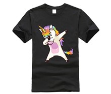 2019 Summer Fashion Dabbing Unicorn T-Shirt Men Funny T Shirts Dabbing Hip Pop Unicorn Cat Zebra Tops Tee la591(China)