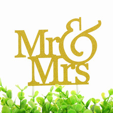 Mr & Mrs Cake Topper Love Wedding Flags Glittler Engagement Party Baking Decor 20pcs/lot