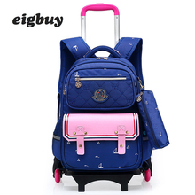 Fashion Removable Backpack Children School Bags With 6 Wheels Child Waterproof Trolley Backpack Kids Wheeled Bags Girls Bookbag все цены