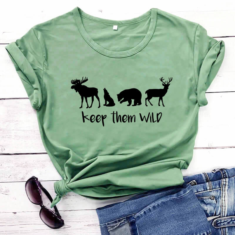 Keep Them Wild Graphic <font><b>Shirts</b></font> Unisex Funny 100%Cotton <font><b>T</b></font>-<font><b>shirt</b></font> Nature Lover <font><b>Shirts</b></font> Wildlife Tees <font><b>Wilderness</b></font> Tee Outdoor <font><b>T</b></font> <font><b>Shirt</b></font> image