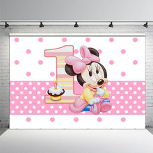 Newborn Photocall Pink Minnie Mickey Mouse Polka Dots 1st Birthday Cake Photo Studio Background Baby Shower Photography Backdrop(China)