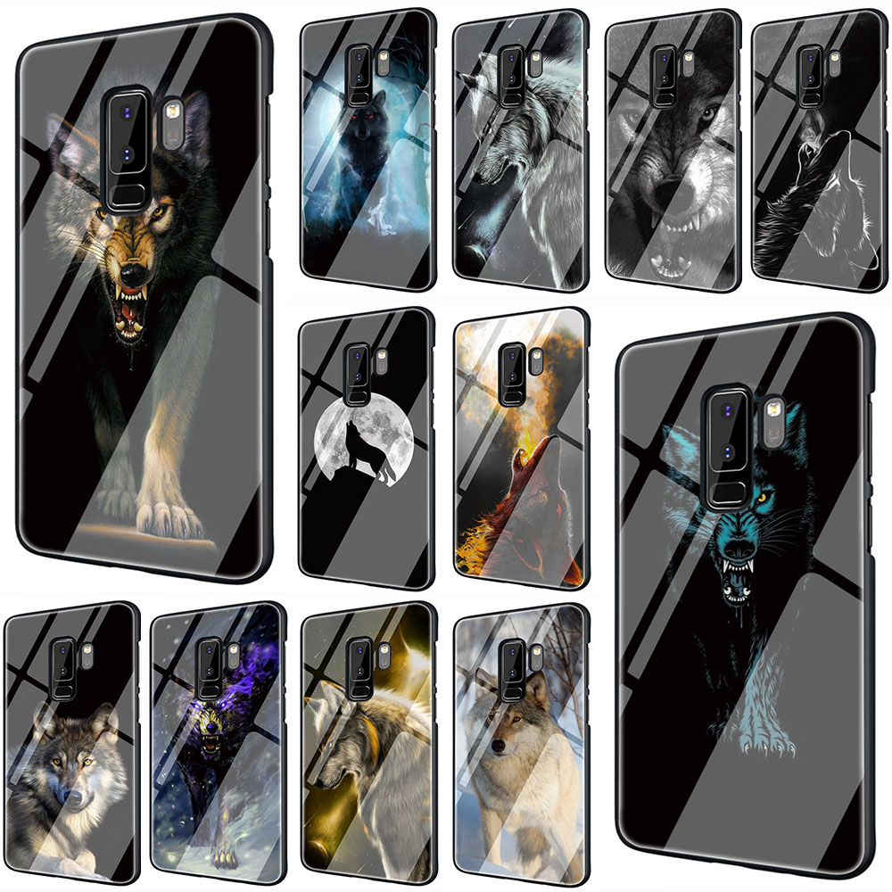 Animal Wolf Tempered Glass Phone Cover Case for Galaxy S7 Edge S8 9 10 Plus Note 8 9 10 A10 20 30 <font><b>40</b></font> <font><b>50</b></font> <font><b>60</b></font> 70 Half-wrapped Case image