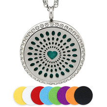 BOFEE Aromatherapy Necklace Pendant Essential Oil Diffuser Magnetic Heart 316L Stainless Steel Crystal Locket Gift 30mm Jewelry