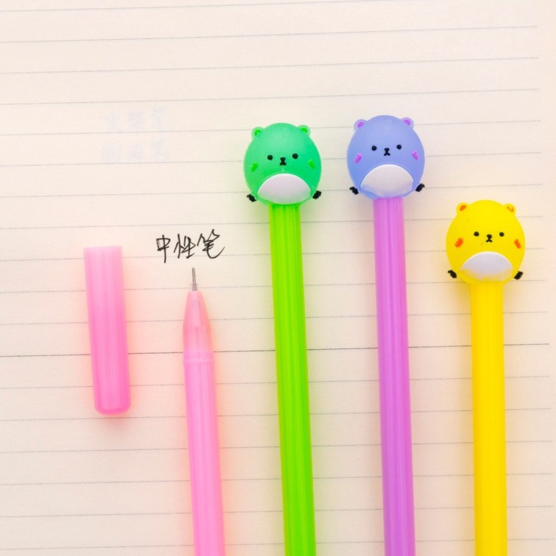 1pc Wholesale Cartoon Cute Candy-Colored Round Bear Gel Water Pen 0.5mm Black Student Stationery Pen