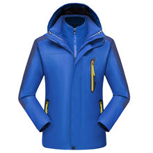 Men's Outdoor Jacket Waterproof Hoodie Hat Detachable Breathable Sport Outdoor Coat Two-piece Detachable Liner Weatherproof(China)