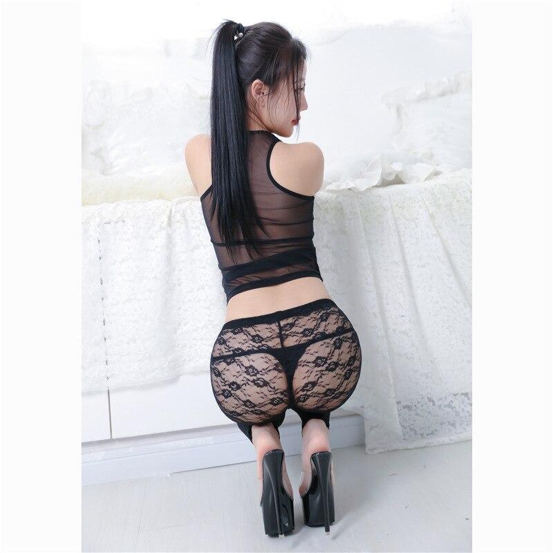 Ultra-Thin Hollow Out Transparent Lace Leggings Sexy Elasticity Skinny Pants Versatile Korean-style Slim Fit Stovepipe Capri Pan